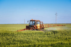 Tractor spraying wheat field with sprayer Stock Photo