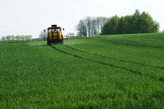 Tractor spraying wheat v2. Tractor spraying wheat field in spring Royalty Free Stock Photo