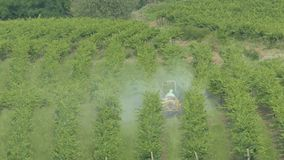 A tractor sprying pesticides in vineyards. stock video footage