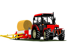 Tractor straw bale Stock Photography