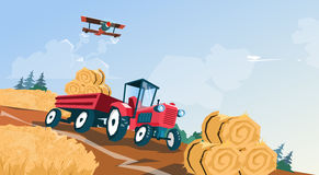 Tractor Straw Bale Wheat Harvest Field. Vector Illustration Stock Photo