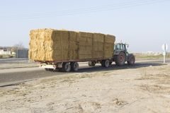 Tractor with straw bales Stock Photography