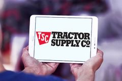 Tractor Supply Company, TSC, logo. Logo of Tractor Supply Company on samsung tablet. Tractor Supply Company TSCO is an American retail chain of stores that royalty free stock images