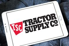 Tractor Supply Company, TSC, logo. Logo of Tractor Supply Company on samsung tablet. Tractor Supply Company TSCO is an American retail chain of stores that stock photo