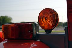 Tractor With Tail Lights and Caution Light Stock Photography