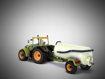 Tractor with a tank 3d rendering on a gray background Royalty Free Stock Photography
