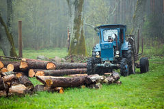Tractor and Timber Stock Photography