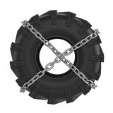 Tractor tire chains wrapped Stock Photos