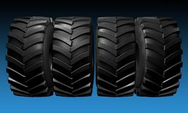 Tractor tire. 3D render. Tractor tire background. 3D render illustration close-up Stock Image