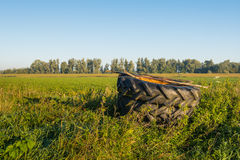 Tractor tires stacked in the field. Covered with a rusty iron plate two large stacked tractor tires were left in the field. It's early in the morning on a sunny Royalty Free Stock Photos