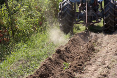 Tractor to work. In a vegetable garden Stock Images