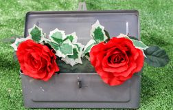 Tractor tool box with flowers and ivy arrangement Royalty Free Stock Images