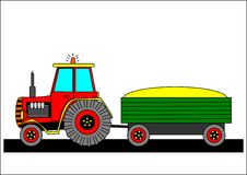 Tractor and tow. Tractor tow agricultural farm machine trailer royalty free illustration