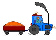 Tractor and town. Transport tractor town agriculture farm farmer nature vector illustration