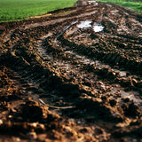 Tractor track mud field farming ecology Royalty Free Stock Photo