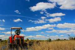 Tractor. The tractors at farm with blue sky background Royalty Free Stock Photos