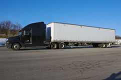 Tractor Trailer. Semi with White Blank Trailer Stock Image