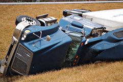 Tractor trailer accident royalty free stock image