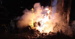 Tractor trailer burning after accident. stock footage