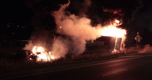 Tractor trailer burning after accident. stock video