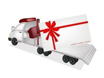Tractor Trailer Flatbed Sending A New Year Card Stock Images