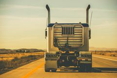 Tractor Trailer on the Highway Stock Photo