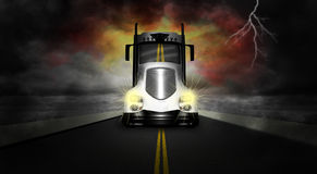 Tractor Trailer Semi Truck Road. Illustration of a tractor trailer semi truck on the road or highway. The 18 wheeler is hauling freight. The background is dark Stock Images