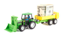 Tractor and trailer toy, isolated Royalty Free Stock Image