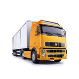 Tractor trailer truck. A modern tractor trailer truck with yellow cab.  White background Royalty Free Stock Photos