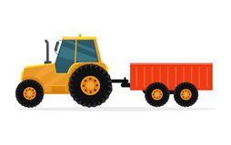 Tractor with Trailer Vector Illustration. Royalty Free Stock Image