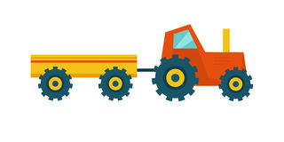 Tractor with Trailer Vector Illustration. Royalty Free Stock Photography