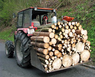 Tractor transport a full load of wood 2 Royalty Free Stock Photography