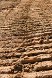 Tractor Tread Marks In Dried Mud Royalty Free Stock Images
