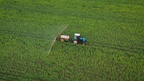 Aerial view of tractor treats agricultural plants on the field. Tractor treats agricultural plants on the field, top view from height stock video footage