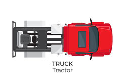 Tractor Truck Top View Flat Vector Icon. Tractor truck top view icon. Semitrailer truck without trailer on hitch flat vector isolated on white background stock illustration