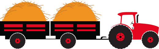 Tractor with two trailer. Silhouette color vector illustration Stock Image
