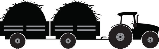 Tractor with two trailer. Silhouette vector illustration isolated Stock Image