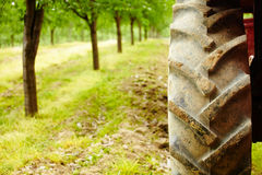 Tractor tyre closeup Royalty Free Stock Images