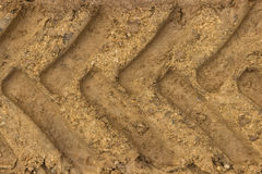 Tractor tyre track closeup Royalty Free Stock Photo