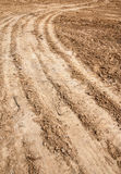 Tractor tyre tracks on the ground Royalty Free Stock Image