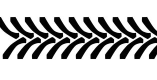 Tractor Tyre Tread Marks. Isolated over a white background Stock Images
