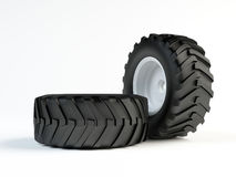 Tractor tyres. Couple isolated 3d tractor tyres Stock Images
