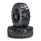 Tractor tyres isolated. On white background. 3d rendering illustration Stock Photography