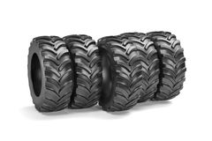 Tractor tyres isolated on white background. 3d rendering illustration Royalty Free Stock Photo