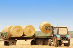 Tractor unloads bales of hay in the field Stock Photos