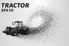 Tractor van de deeltjes De vectortractor bestaat uit kleine cirkels royalty-vrije stock afbeeldingen