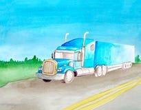 Tractor van de waterverf berijdt de blauwe lading op de achtergrond van het landschap van de asfalt grijze weg met twee ononderbr royalty-vrije stock foto