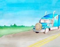Tractor van de waterverf rolt de blauwe lading in het kader op een asfalt grijze weg met twee ononderbroken strepen De ruimte van stock afbeeldingen