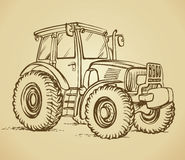 Tractor. Vector drawing. Farm tractor with big wheels icon design. Vector black freehand linear ink hand drawn sketch in art scribble style pen on paper. Side Royalty Free Stock Images