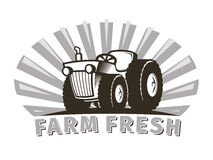 Tractor vector emblem design template Stock Photos